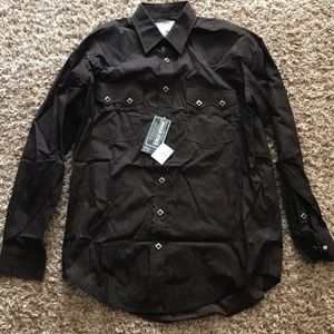 Brown paisley brand new button up shirt